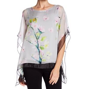 Lola Made in Italy Ivory Floral Print Silk Blouse